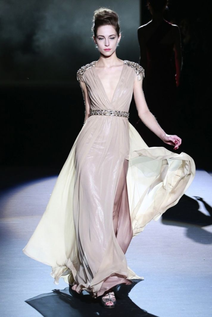 Nude V Neck Bridal Gown with Beading