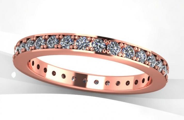 Shiny Rose Gold Wedding band with diamonds