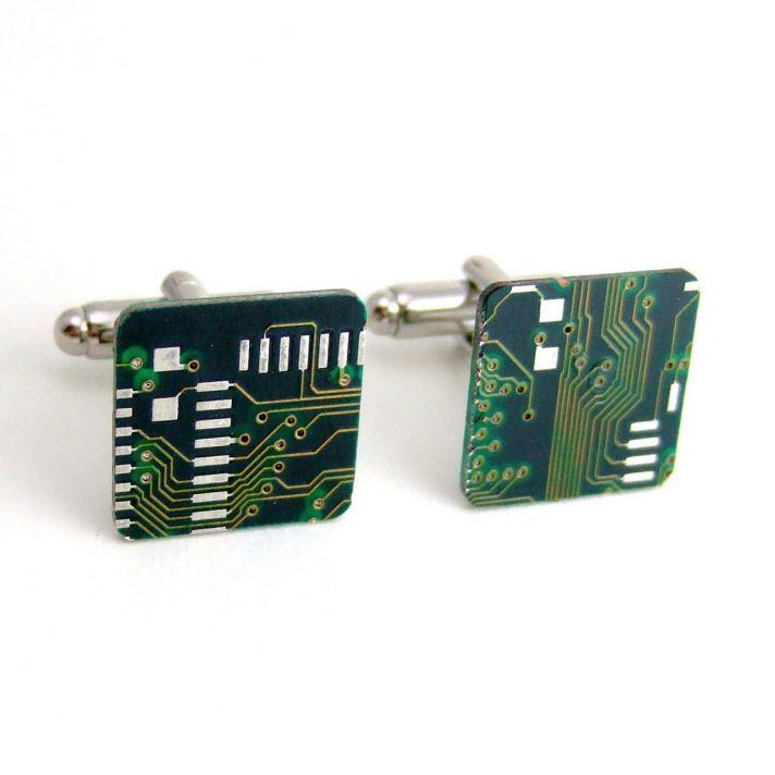 Techy Grooms Circuit Board Cuff Links