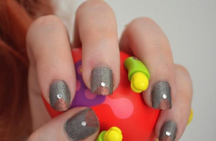 Metallic wedding nails shimmery