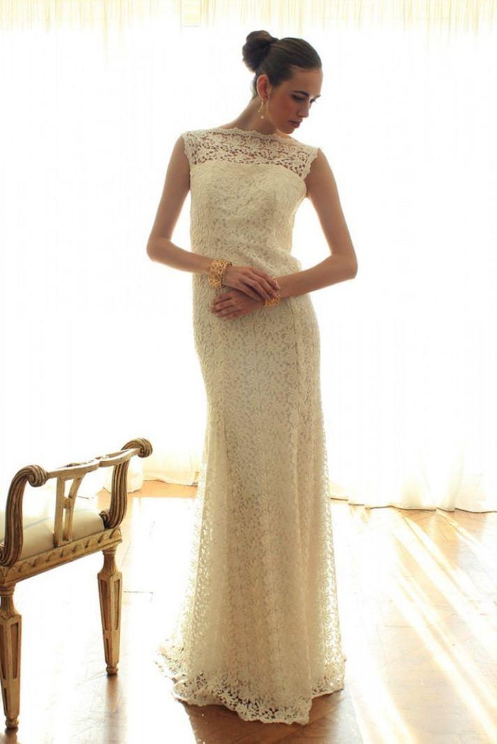 Lace mermaid v back wedding dress