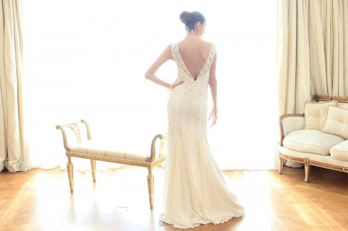 Lace mermaid v back wedding dress