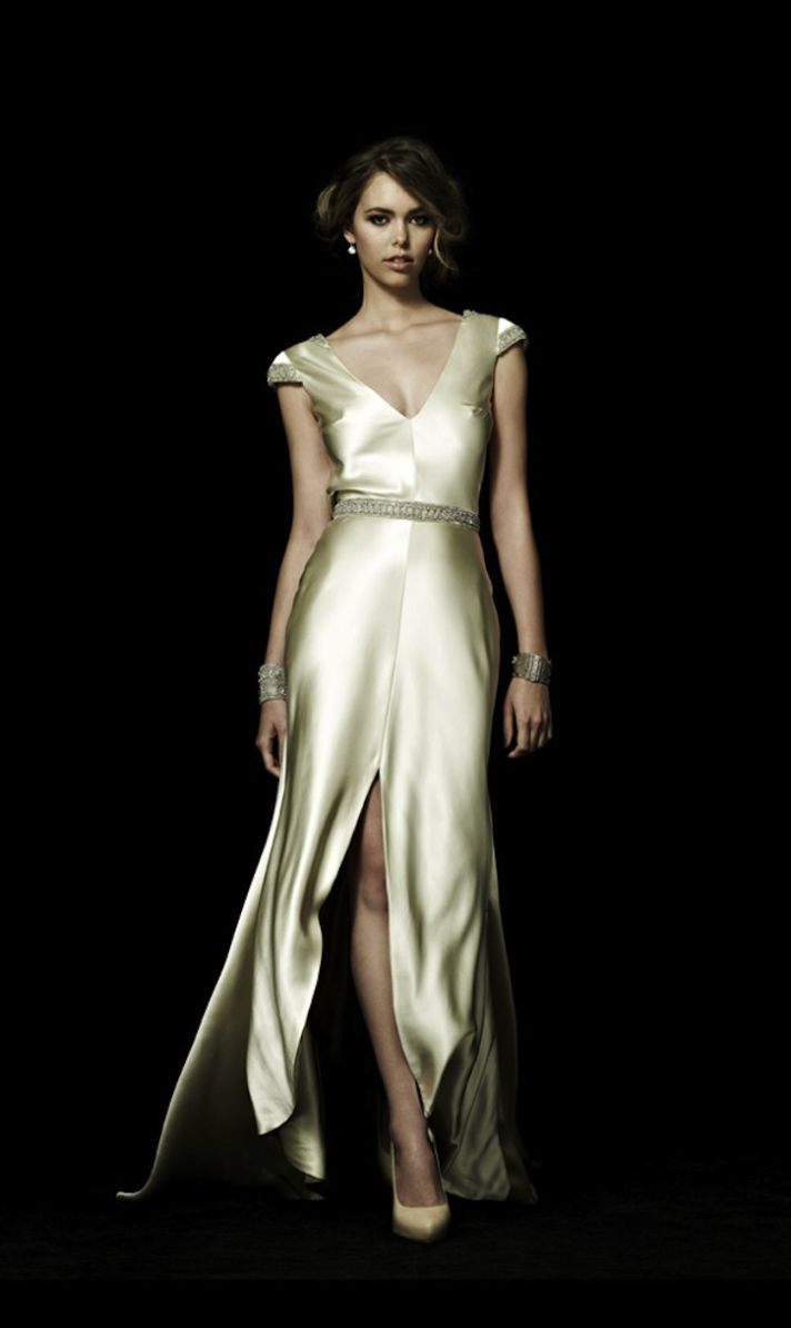Statement Back Wedding Dress in Ivory Silk