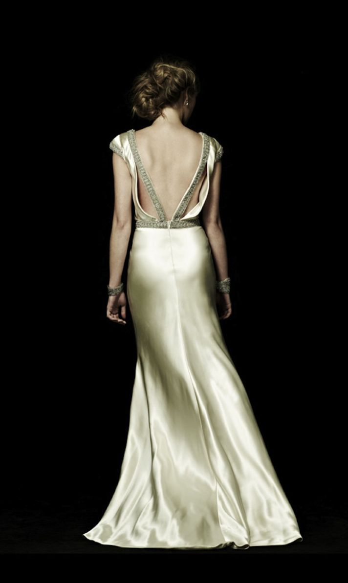 Statement Back Wedding Dress in Ivory Silk