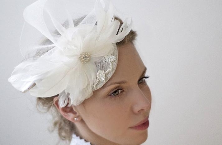 feather embellished wedding hat
