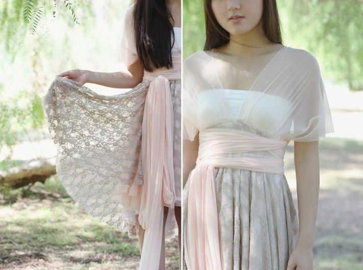 Convertible wrap bridesmaid dress neutrals