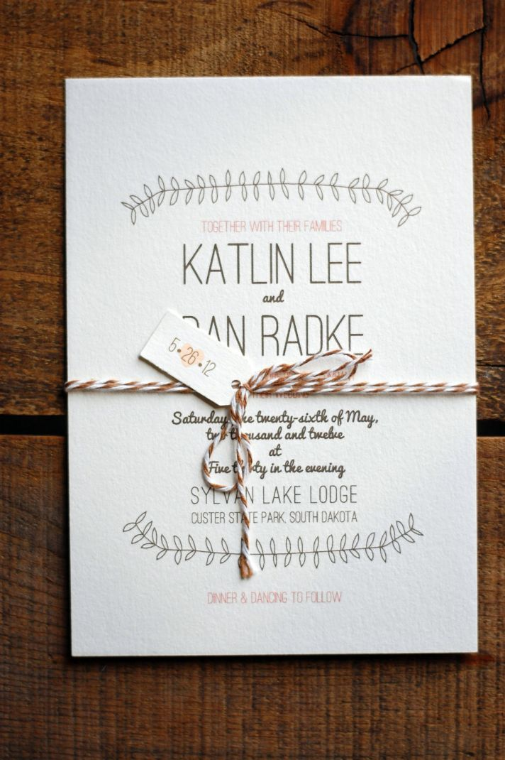 Rustic elegance neutral wedding invitations custom