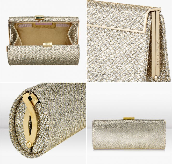 gold sparkle wedding clutch by Jimmy Choo 2