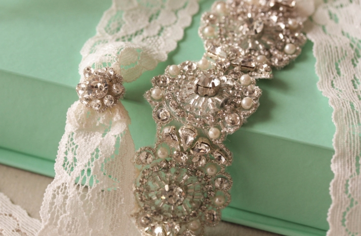Beaded crystals pearls lace bridal garter