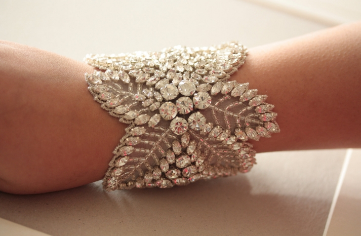 beaded wedding cuff bracelet floral design