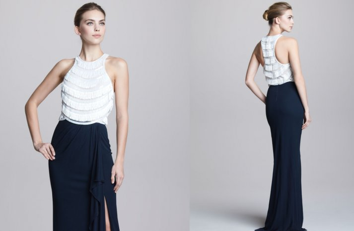 Navy and White Fringe Gown for Bridesmaids