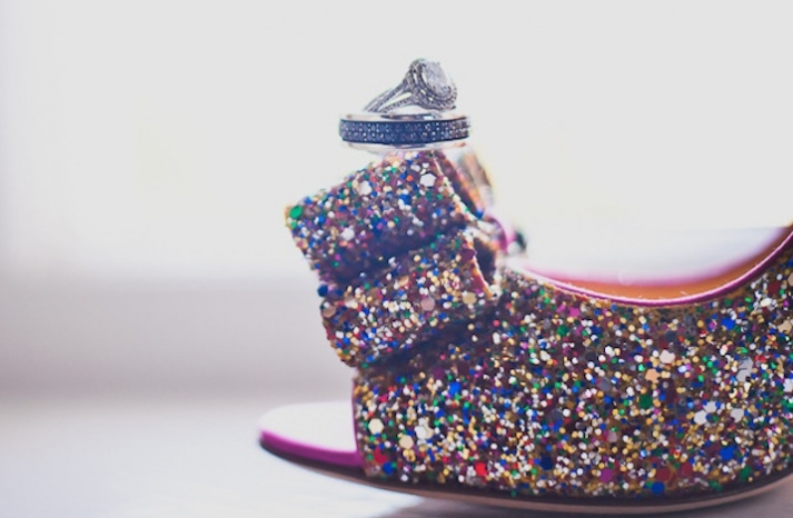 Kate Spade Sparkly Wedding Shoes Photographed with Rings