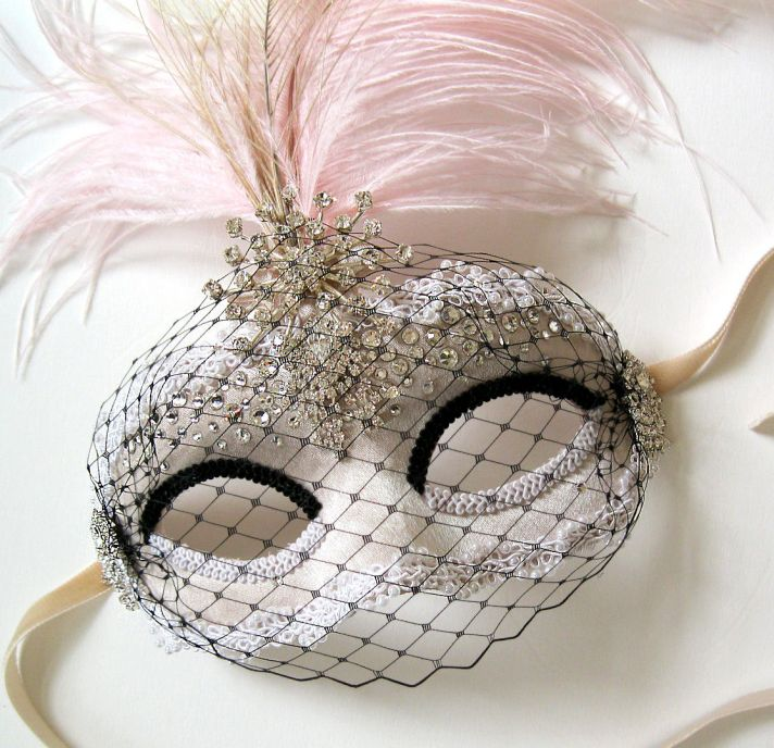 Luxe embellished mask for wedding photo booth