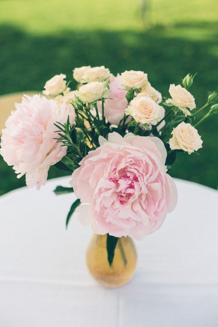 Pink Peony and Sherbet Wedding Centerpieces