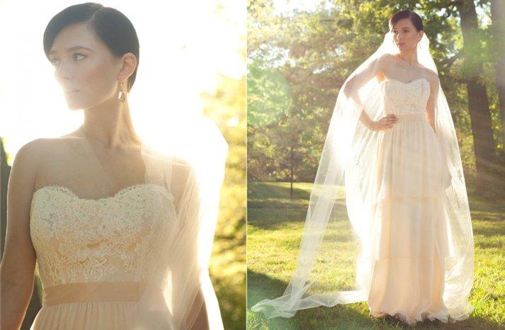 Blush and ivory lace wedding dress