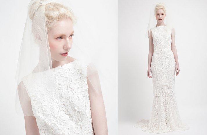 Lace drop waist wedding dress high neck