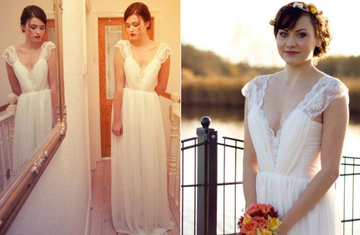 Lace cap sleeve wedding dress deep v