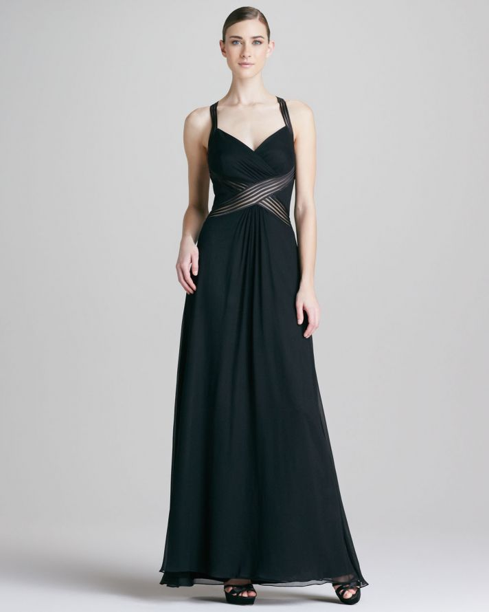 Black Halter Evening Gown for Mothers of Brides