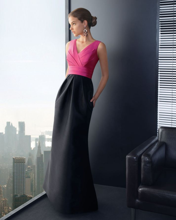 Pink and Black Long Bridesmaid Dress