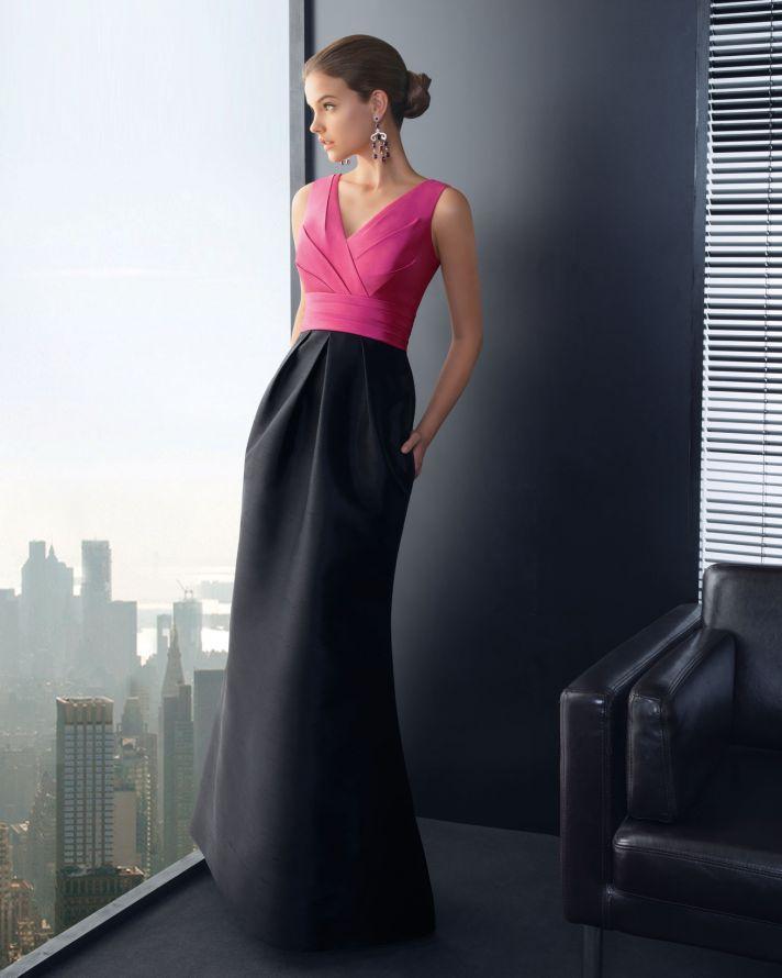 Pink and Black Long Bridesmaid Dress