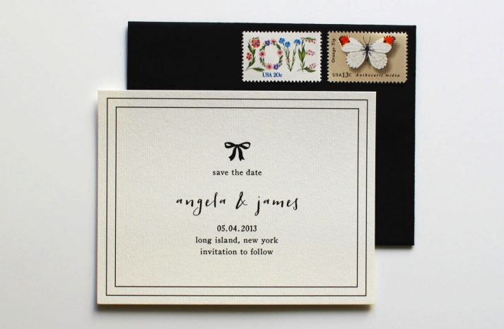 Classic ivory and black wedding save the date