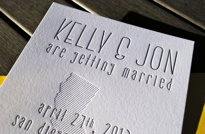 Fun letterpress wedding save the date California weddings