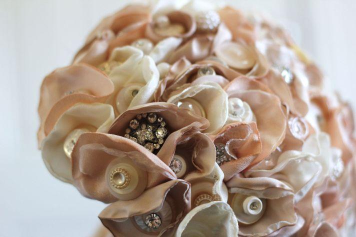 Romantic button wedding bouquet cream blush
