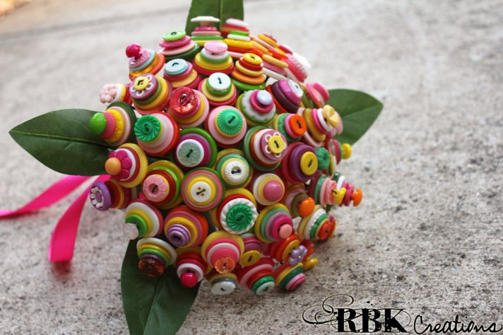 Bright alternative wedding bouquet buttons