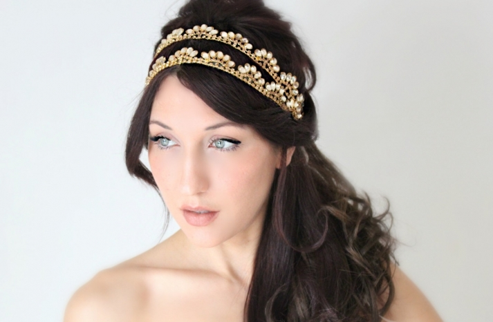 Double band vintage inspired wedding head piece