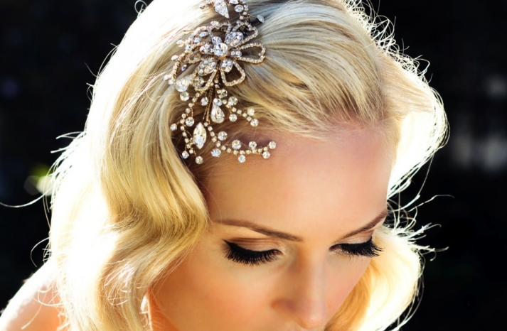 Blooming Swirls Elegant Wedding Hair Accessory Gold and Crystals