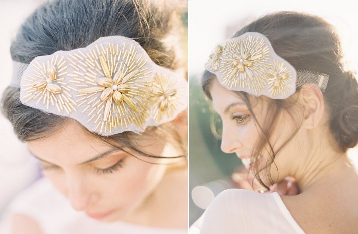 gold beaded wedding head wrap