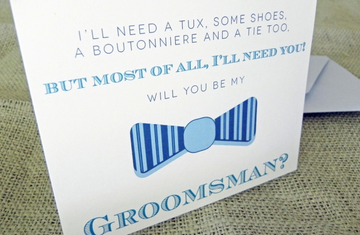 Sweet idea to pop the question to groomsmen