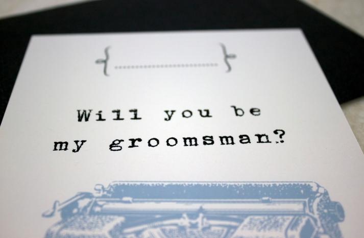 vintage typewriter will you be my groomsman