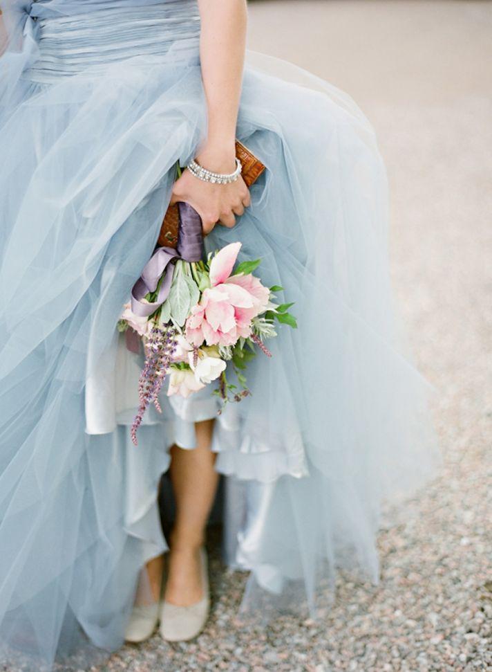 Sky blue tulle wedding dress romantic bridal bouquet