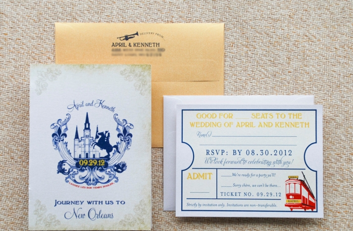 vintage travel wedding invitations New Orleans
