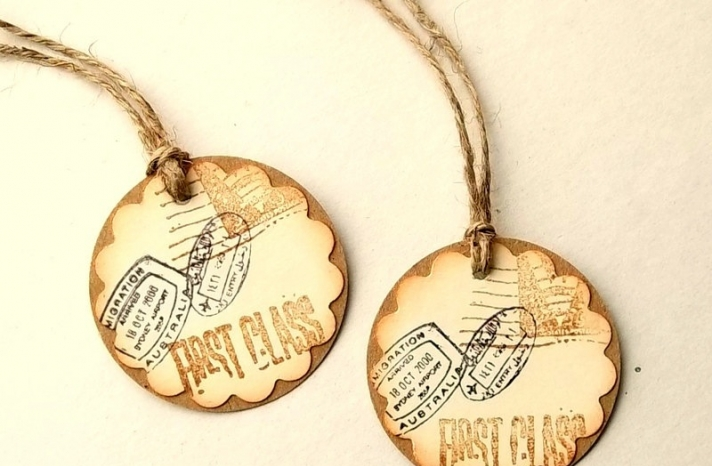 Vintage travel wedding gift tags