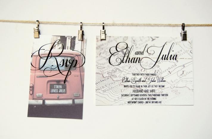 Vintage road trip wedding invitation