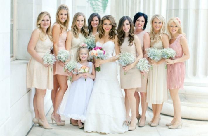 Pastel cream pink mix and match bridesmaids