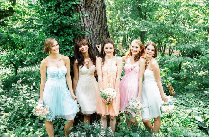 Romantic pastels mix and match bridesmaids