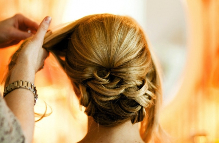 Sleek wedding hairstyle low updo