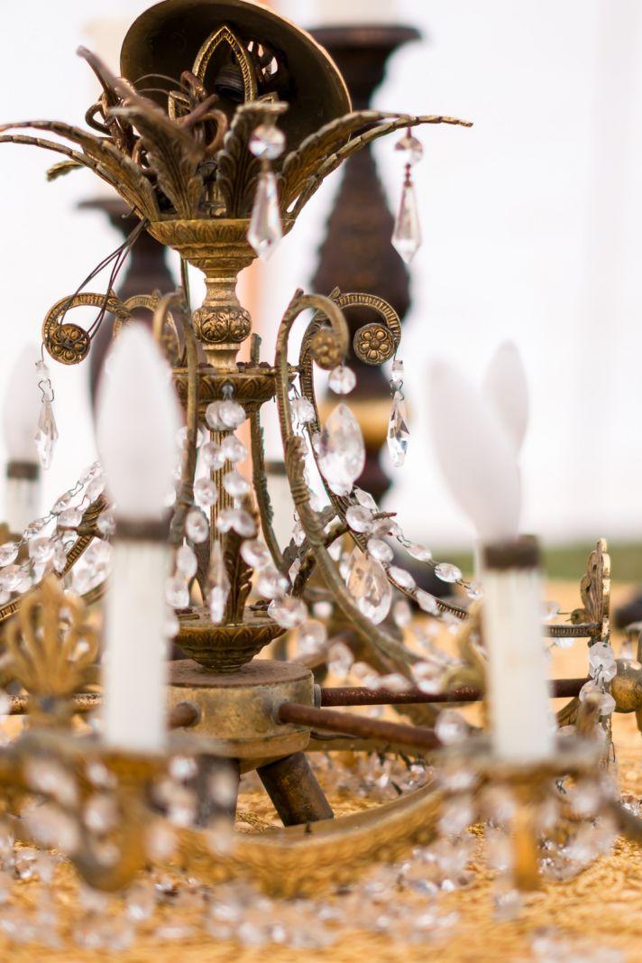 Vintage candelabra chandelier for wedding reception