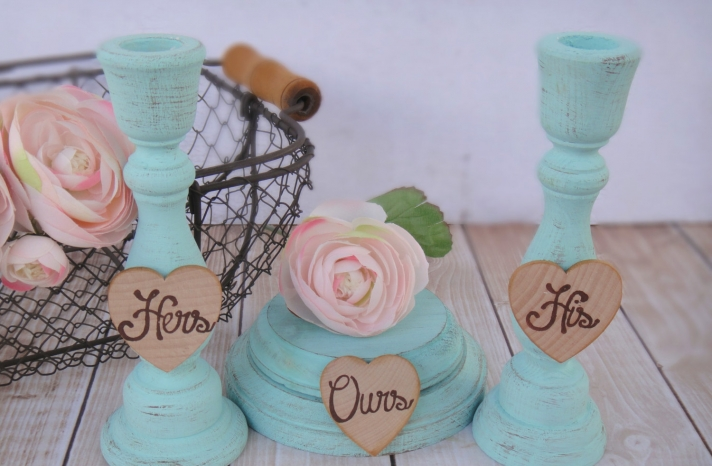 Shabby chic wedding decor His Hers Ours table accents