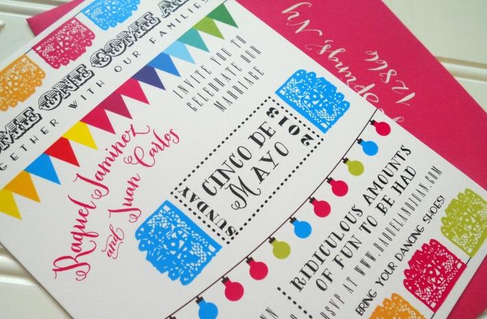 Cinco de Mayo colorful wedding invitations