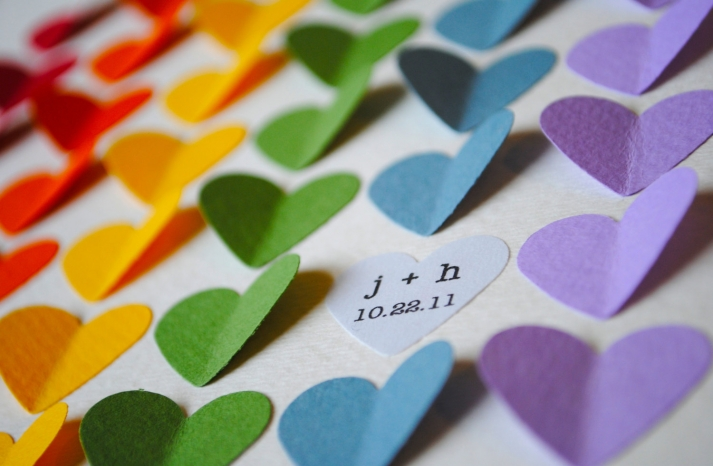 Rainbow hearts wedding escort cards