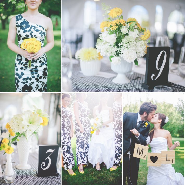 Elegant and Bright Wedding Color Palette black yellow white
