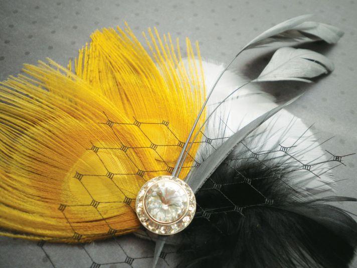 Yellow black white bridesmaid hair accessory