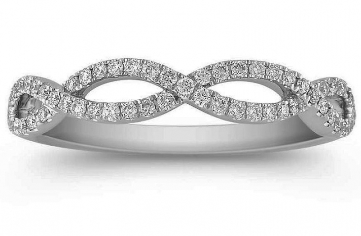 Infinity diamond wedding band in white gold