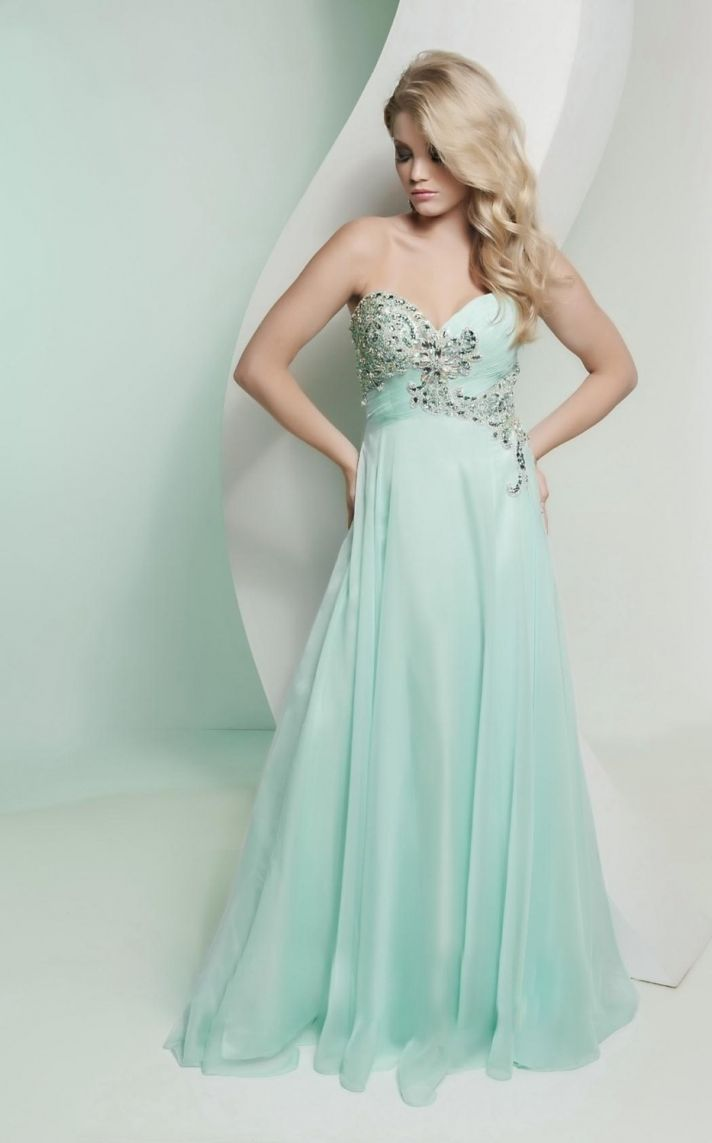 Pastel Mint Bridesmaid Dress with Beading