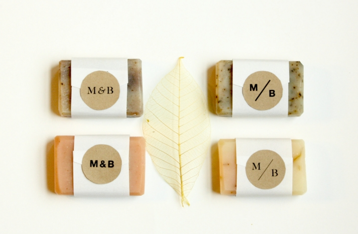 Personalized bath soaps for rustic wedding favors
