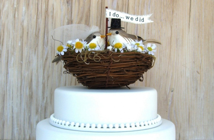 Cute wedding cake topper nesting love birds